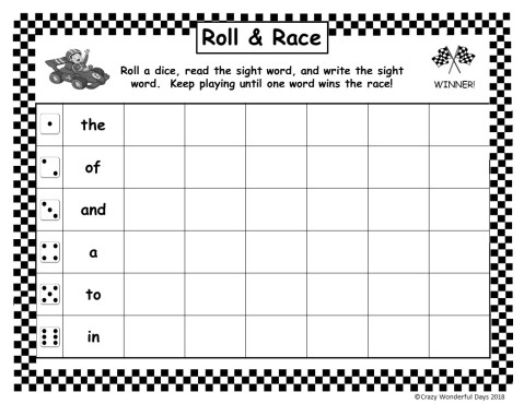 Roll and Race - Fry's 100 Sight Words - Preview